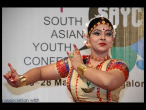 Krishnakshi performing Sattriya Dance in the opening ceremony of 1st SAYC held in IIMB
