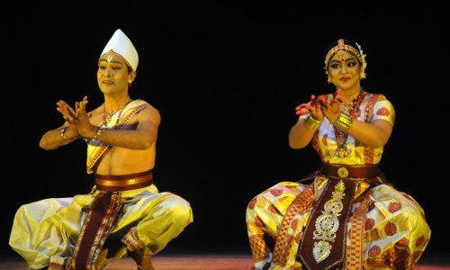 Krishnakhi performing with her guru during Rangajatra