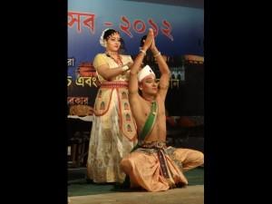Krishnakshi and Guru Ramkrishna Talukdar performing Sattriya in Neermahal Tourism Festival, Tripura