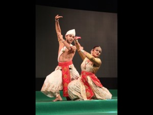 Krishnakshi with her guru performing in BHARATHEEYAM 2014 in Marine Drive Kochi Kerala